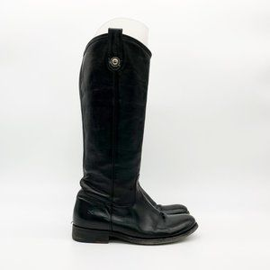 FRYE Melissa Button Lug Leather Boots Tall Black